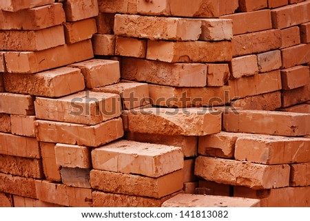 Construction material warehouse. Stack of bricks close up #141813082
