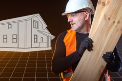 Construction materials. Builder on background of drawn house. Wooden beams in hands builder. Concept - purchase construction materials. Materials for construction companies. Man holds wooden boards