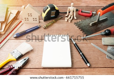 construction materials, sample of materials. Copy space.Decorate for home and building materials are natural materials. #661715755