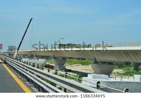 construction motorway bridge, motorway A23, Italy #1186334695