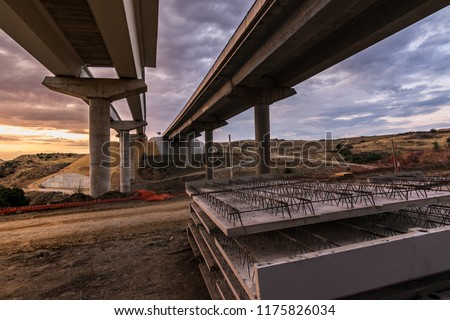 Construction of a bridge in the expansion works of the ring road in Segovia (Spain) stock photo