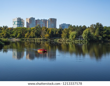 Construction of a house near the water. The concept of ecological housing. #1213337578