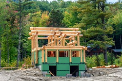 Construction of a Log Cabin Building in the State of Maine