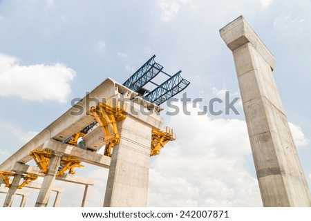Construction of a mass rail transit line in progress stock photo
