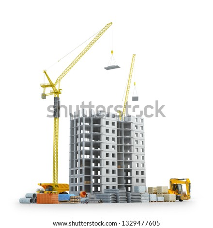 construction of a new concrete building, building area with building materials. 3d illustration