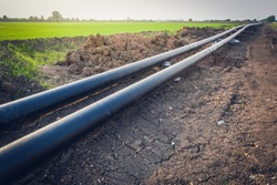 Construction of a new energy pipeline of Oil or Gas pipeline,Pipes at a construction site to be used in a new energy pipeline .
