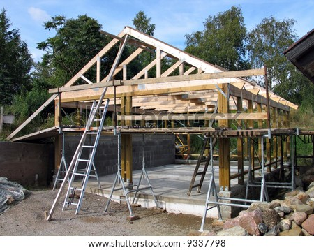 Construction of a wooden frame for a house