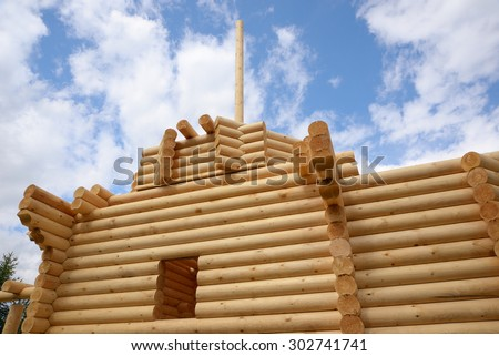 Construction of a wooden house made of logs