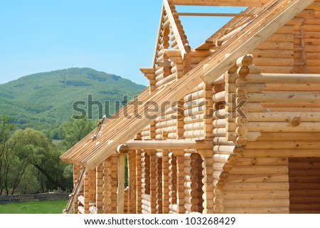 construction of a wooden house outside the city on the nature