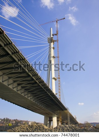 Construction of biggest bridge with one tower in the world / river Sava Belgrade Serbia / under construction / One pilon