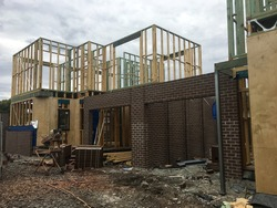 Construction of Brick Veneer town houses in Melbourne Victoria Australian Suburbia