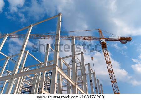 Construction of building a beautiful sky background