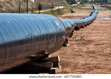 Construction of gas pipeline Trans Adriatic Pipeline - TAP in north Greece. The pipeline starts from the Caspian sea and reaches the coast of southern Italy