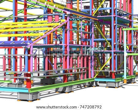 Construction of metal buildings. Engineering background. Construction background. 3D rendering. #747208792