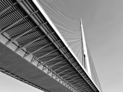 Construction of new bridge / Modern bridge / Belgrade, Serbia
