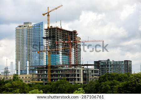 Construction of new modern building, downtown Austin, TX