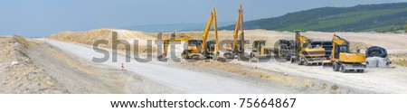 Construction of new motorway between Jena and Weimar, Thuringia, Germany. Panoramic view