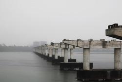 construction of reinforced concrete bridge is going on site. selective focus.