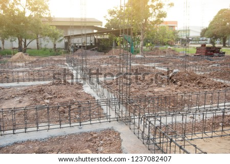 construction of reinforced concrete foundation beam for ground beam. #1237082407