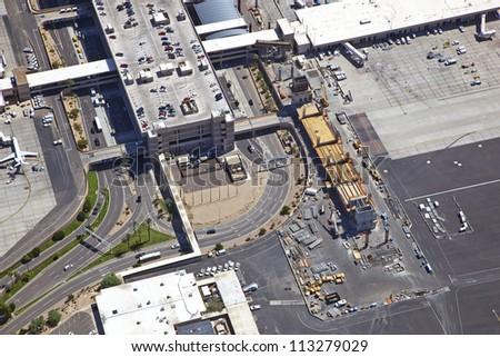 Construction of Sky Train near Terminal 3 at Sky Harbor
