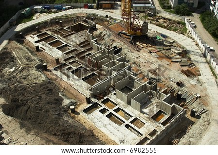 Construction of the base of a building - stock photo