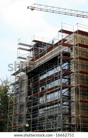 Construction of the building and scaffold