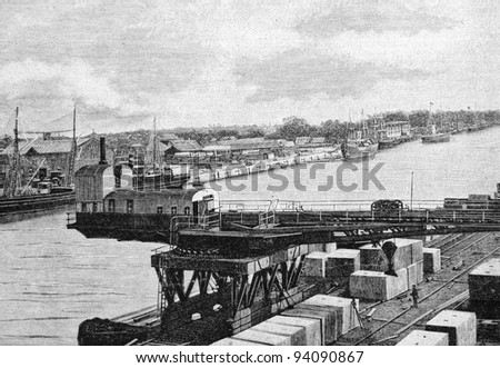 """Construction of the cargo port in Lubava (Poland). Engraving by Rashevsky. Published in magazine """"Niva"""", publishing house A.F. Marx, St. Petersburg, Russia, 1893"""