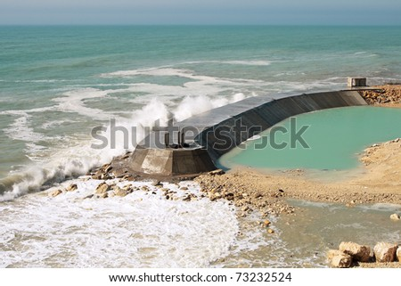 Construction of the dam, view from the top. Caspian Sea. Aktau.