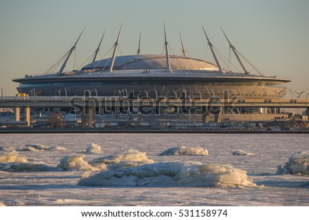 Shutterstock Construction of the stadium Zenit arena  at sunset, most expensively in the world, the FIFA World Cup in 2018, northwest high-speed diameter, highway, the snow, the frozen river Neva