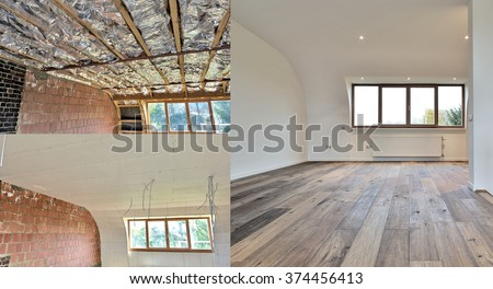 construction of the wooden frame of a roof\ Fiberglass insulation installed in the sloping ceiling of a house.\ Construction of Drywall-Plasterboard Before and after