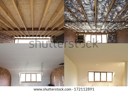 construction of the wooden frame of a roof Fibrerglass insulation installed in the sloping ceiling of a house. Construction of Drywall-Plasterboard Before and after