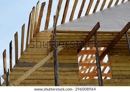 Construction of the wooden house close up