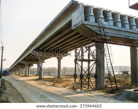 Construction of traffic artery. stock photo