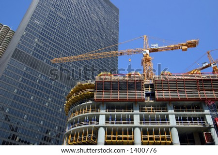 Construction of Trump International Hotel and Tower in Chicago.  - Editorial Use Only - stock photo
