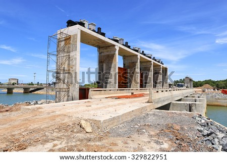 Construction of water gate with blue sky