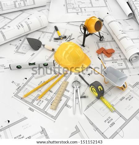 construction plan in roll