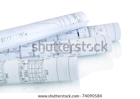 construction plan in rolls isolated on white with reflection