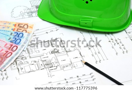 Construction plan with hardhat of my own house (see Property Release) and Euro currency