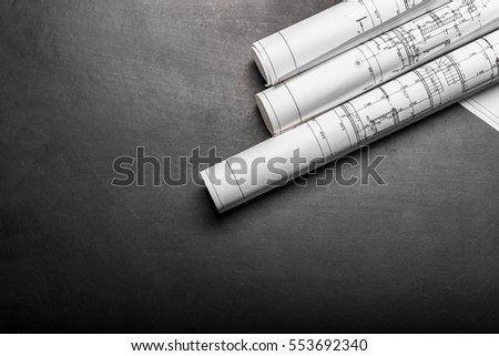 Construction planning drawings on black background #553692340