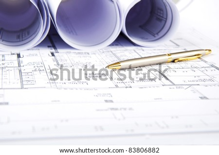 Construction plans, ball pen, business collage, paperwork