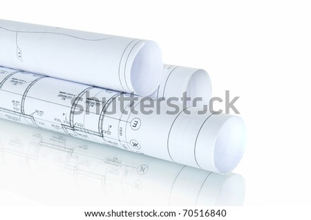 construction plans in rolls isolated on white and reflection