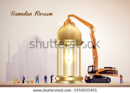 Construction Ramadan kareem, miniature worker people working on a lantern, Ramadan karim holiday concept for business construction companies . construction Ramadan Mubarak