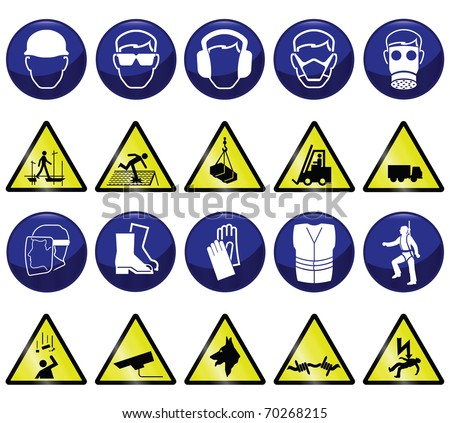 Construction related mandatory & hazards icons and signs