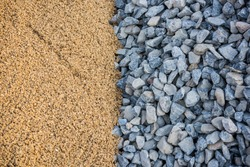 Construction sand pile and rocks