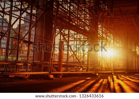 Construction Scaffoldings abstract scaffold with sunset in the background Сток-фото ©