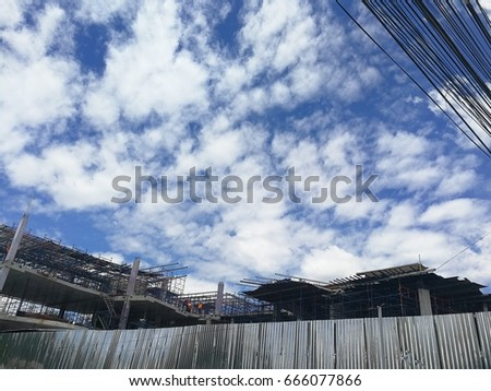 Construction site and blue sky #666077866