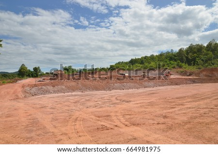 Construction site and Construction activities with beautiful blue sky #664981975