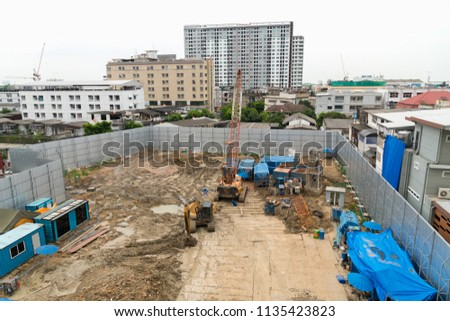 Construction site at Bangkok metropolis in Thailand #1135423823