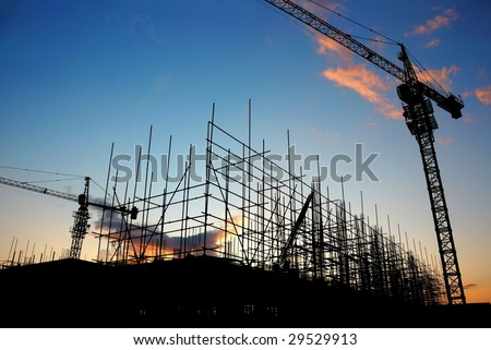 Construction Site at Dusk (or Dawn) - stock photo