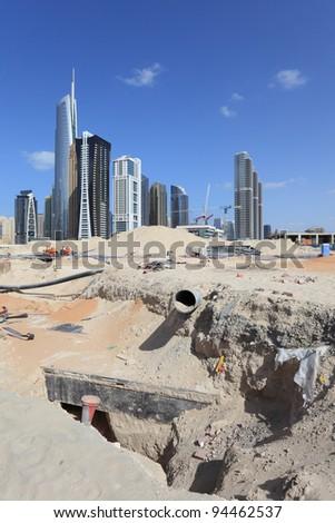 Construction site at Jumeirah Lake Towers in Dubai